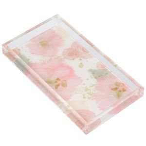Acrylic Catch all Jewelry Tray Floral Design NEW
